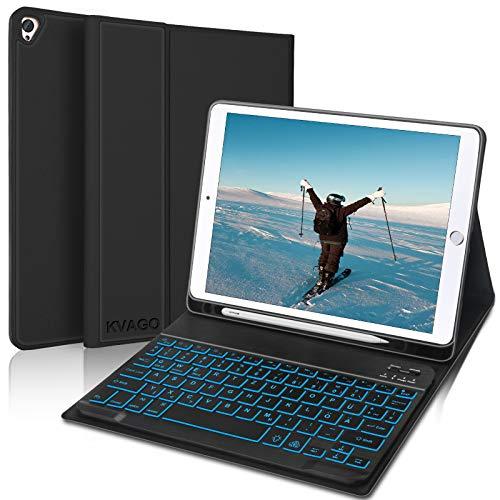 KVAGO Kompatibel mit iPad 8 Generation, iPad 7 Generation & iPad Air 2019, Tastatur Hülle mit Bluetooth Beleuchtet Tastatur (QWERTZ Layout) mit Robust Hülle für iPad 10.2 & Air 3 - Schwarz