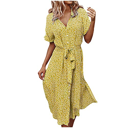 FQZWONG Dress for Women Casual Solid V Neck Short Sleeve Chiffon Print Ruffle Frenulum Dress for Holiday Dating Beach(Yellow,Large)