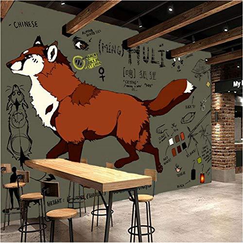 3D foto behang hand beschilderde vos graffiti kunst lesgeven gereedschap achtergrond muur woonkamer restaurant muurschildering 250x175cm