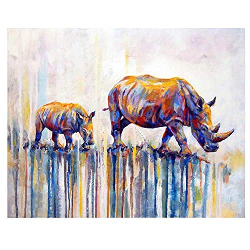 DIY Digital Painting,Hand-Painted Color Fill,Living Room Oil Painting Decorative Painting 40X50Cm,Rhinoceros Zwwcj