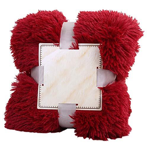 GODGETS Plaid en Microfibre Fausse Fourrure à Longs Poils, Polyester, Léger, Doux et Chaud Vin Rouge 160×200 CM