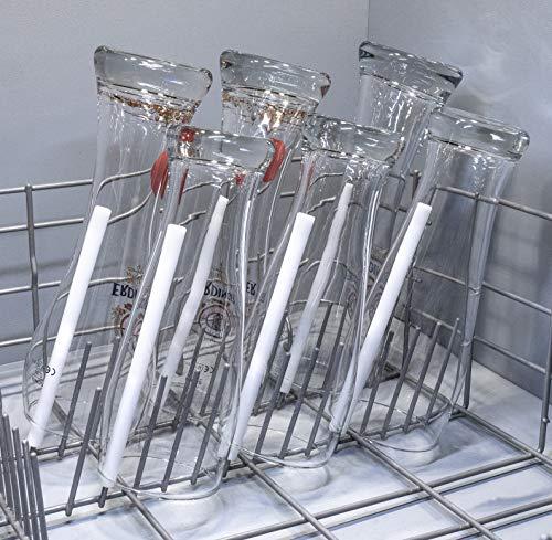 spiked-glasses Glashalter für Spülmaschine - Bierfreunde 6er Set - Lange Aufsteckhalter Halterung für Geschirrkorb Glas Gläser - formstabil und kratzfrei
