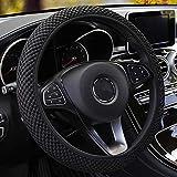 MRTIOO Soft Breathable Microfiber Ice Silk Elastic Steering Wheel Cover, Cold or Hot Universal 15 inch, Fit Suvs, Vans, sedans, Cars, Trucks (Black)