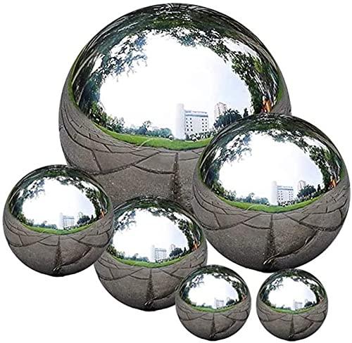 6 Stück Gazing Ball Edelstahl Gazing Spiegelkugeln für Garten Nahtlose Gazing Globe Spiegel Garten Kugeln Ornamente poliert hohle Kugel reflektierende Gartenkugel (#1)