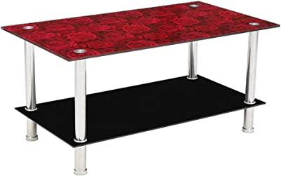 Woodness Braxton Glass Coffee Table (Black with Red)