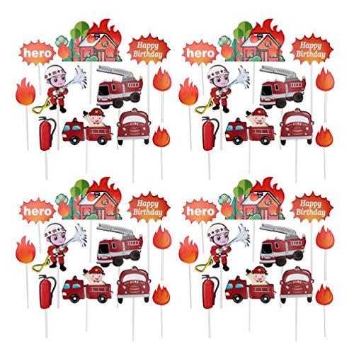 Hemoton 44 Stücke Feuerwehrmann Kuchen Topper Feuerwehrauto Cake Cupcake Picks Tortenstecker Feuerwehr Kuchendeko Tortendeko für Kindergeburtstag Kinder Party Baby Shower Deko