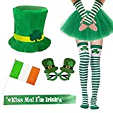 Garma 7 Pack St. Patrick's Day Costume Set Women Irish Day Saint Patrick's Day Celebration Outfit Attire Accessories Green
