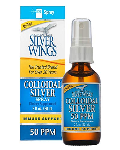 Natural Path Silver Wings Colloidal Silver 50 PPM, 2oz Spray, Golden Yellow