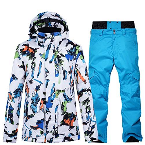 LFTYV Herren Ski Anzug Set Skijacke Und Hosen Set wasserdichte Mountain Snow Snowboardjacke,C,M