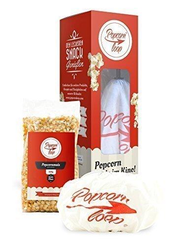 Popcornloop Heimkino-Set bestehend aus 1x Popcornloop Rührstab, 1x Ersatzhaube, 1x Gold qualität Popcorn Mais 500g - Popcornzubereiter Popcorn Maker Popcornmaschine - Zu Hause Popcorn Á lLa Kino Zubereiten