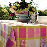 Garnier-Thiebaut Mille Ladies Pivoine (Peony) Jacquard French Tablecloth, COATED Cotton, 69 Inch Round