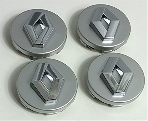 4x 60mm Alloy ruedas Buje Center tapas Renault gris/Chrome Logo Juego cuatro