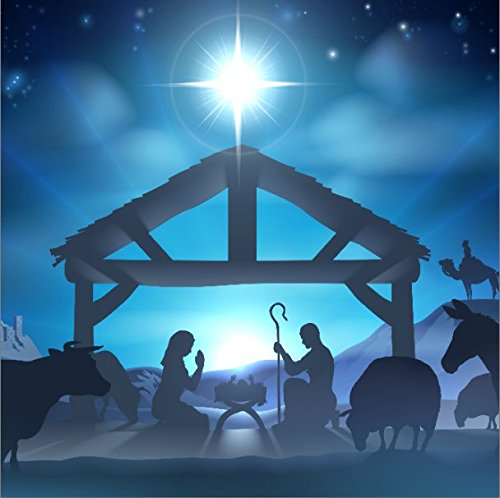 LFEEY 10x10ft Birth of Jesus Backdrop Christmas Night Manger Nativity Scene Silhouette Background Farm Barn Stable Christianity Photography Prop Studio Photo Booth Props
