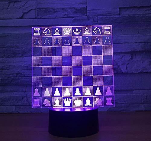 Tablero De Ajedrez Decoración Del Hogar Luz De Noche 3D Encantadora 7 Cambio De Color Lámpara 3D Decoraciones Regalo Para Luces De Habitación De Bebé