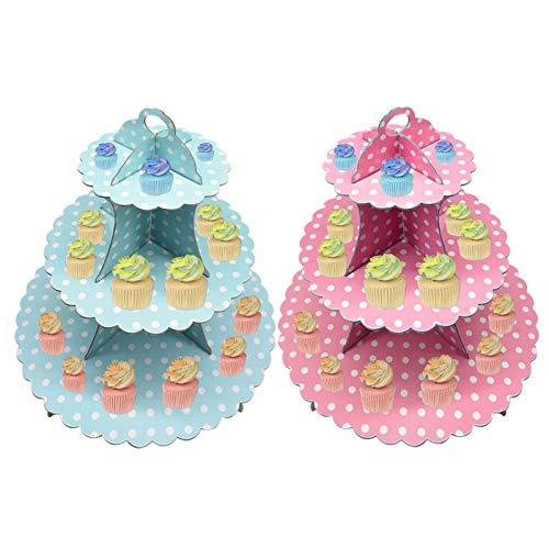 2 PCS Bandeja para Tartas Zuzer Soporte Cupcakes Carton Rosa Azul Cupcake Soporte Patrón de Puntos de Moda Plato de Pastel Decoración de La Torta de Cumpleaños de La Boda