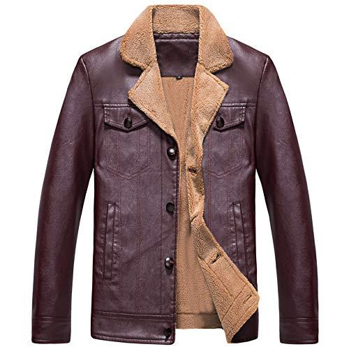 Zarupeng heren softshelljack effen kunstlederen mantel gevoerd fleece winter casual lange mouwen revers lederen jas blazer tops