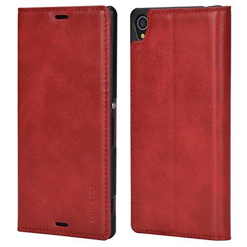 Mulbess Handyhülle für Sony Xperia Z3 Hülle Leder, Sony Xperia Z3 Handytasche, Slim Flip Schutzhülle für Sony Xperia Z3 Hülle, Wein Rot