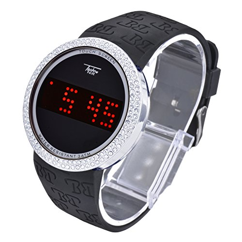 Techno Pave Iced Style Bling Lab Diamond Silver Black Digital Touch Screen Sports Watch Silicone Band