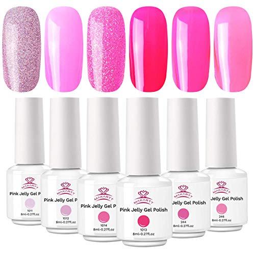Makartt Pink Jelly Nagellack Kit, Summer Translucent Nagellack Kollektion, Jelly Gel Nagellack einweichen, Glitter Crystal Gel Nagellack 6 Farben 8 ML