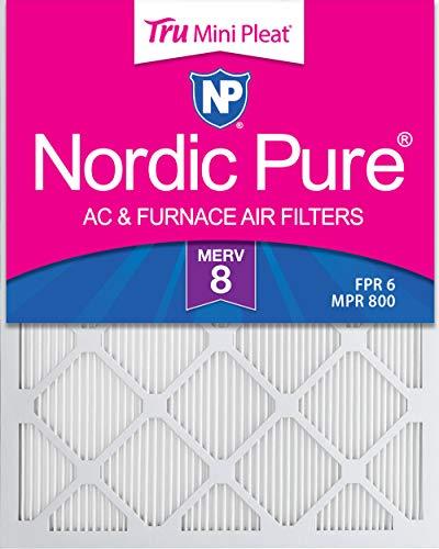 Nordic Pure 20x25x1 MERV 8 Tru Mini Pleat AC Furnace Air Filters, 6 PACK, 6 PACK