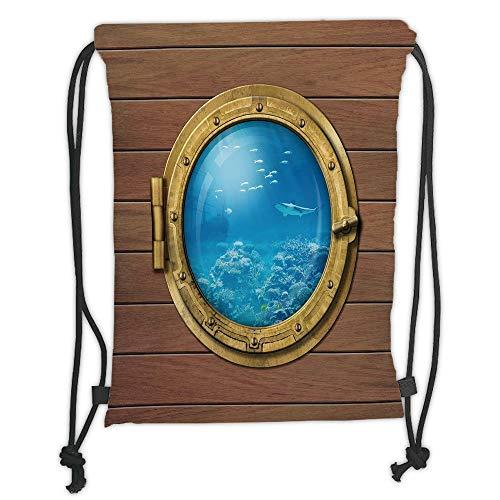 Fevthmii Rucksäcke mit Kordelzug, Hai, U-Boot-Fenster mit Blick auf Korallenriff, Schwimmfische Bedruckt, hellkaramellblau-goldweicher, weicher Satin, 5 Liter Fassungsvermögen, verstellbare Schnur.