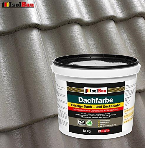 Dachfarbe Sockelfarbe Dachbeschichtung Dachlack Dachsanierung Polymermembran 12 kg Steingrau