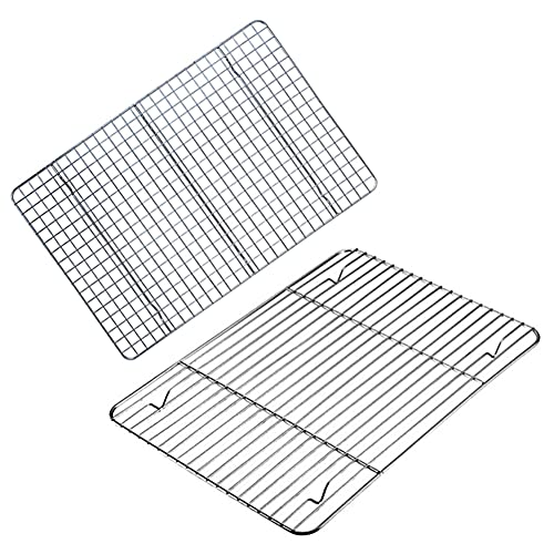 2 Pack Heavy Duty Non-stick Baking Rack, Stainless Steel Wire Cooling Rack for baking and Grilling,12x8.5 inch food safety Roasting rack