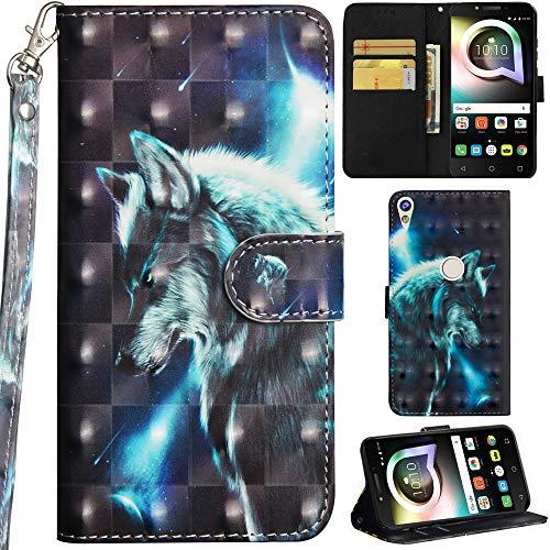 Ooboom Alcatel Shine lite 5080X Hülle 3D Flip PU Leder Schutzhülle Handy Tasche Hülle Cover Ständer mit Trageschlaufe Magnetverschluss für Alcatel Shine lite 5080X - Wolf