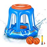 Gonex Pool Basketball Hoop, Swimming Pool Water Basketball Party Toys Indoor Outdoor Lawn Games for Kids Teens Adults with Hand Pump and 2 Water Balls
