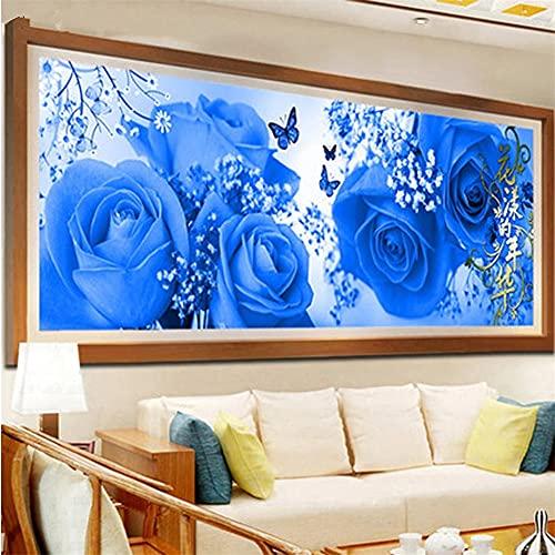 5D DIY Pintura Diamante Niños Kits, Flor rosa azul Full drill Kit Arts Taladro Completo Herramientas Bricolaje Artesanía para la cuarto Decoración Pegatinas de pared Regalo 70x200cm