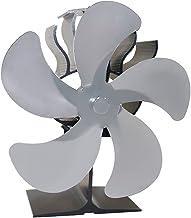 Baoblaze Estufa de leña de 5 aspas Ventilador de Chimenea - Motores silenciosos mejorados Circula el Aire Caliente/calentado Estufas de leña/leña - Plata