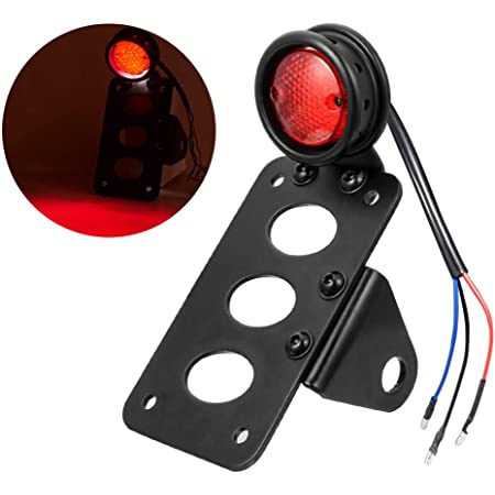 Motorcycle 3 LED Rear Tail License Plate Brake Number Plate Light Taillight Top