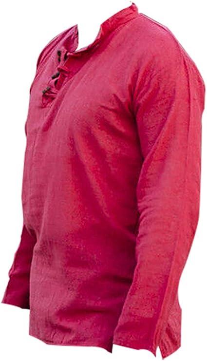 Camisas Medievales para Hombre Camisa vikinga de Manga Larga ...
