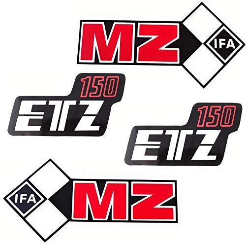 SET 4 Aufkleber Klebefolie MZ - ETZ 150 - Tank und Seitendeckel Rechts Links