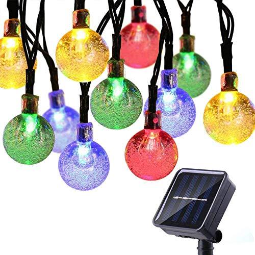 Qedertek Outdoor Solar Fairy Lights, Garden 50 LED Solar String Lights, Waterproof 8 Modes Crystal Ball String Lights for Tree, Party, Home, Wedding, Gazebo, Patio, Yard, Garden Ornaments (Multicolor)