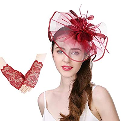 U-Zomir Fascinators Hat Feather Mesh Net Party Flower Hat for Wedding Derby Cocktail Tea Party Headband Clip and Lace Glove
