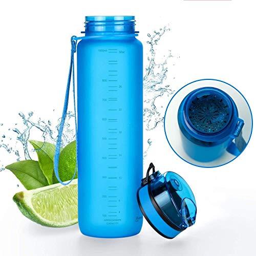 Tritan Botella de Agua 350ml, 500ml, 650ml, 1l - de plástico sin BPA - al Aire Libre - Tapa de un Clic - fácil de Abrir - ecológica - Reutilizable (Azul, 500ml)