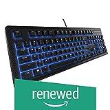 SteelSeries Apex 100 Gaming Keyboard - Tactile & Silent - Blue LED Backlit - Splash Resistant - Media Controls (Renewed)