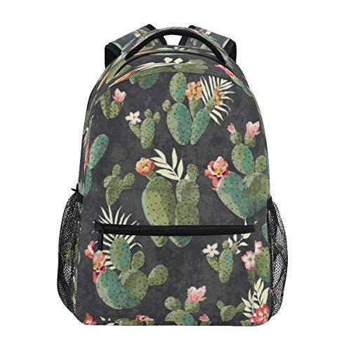 HaJie Backpack Retro Vintage Cactus Flower Leaves Travel Daypack Large Capacity Rucksack Casual School Book Bag Shoulder Straps Computer Laptop Bag for Womens Mens Teenage Girls Boys
