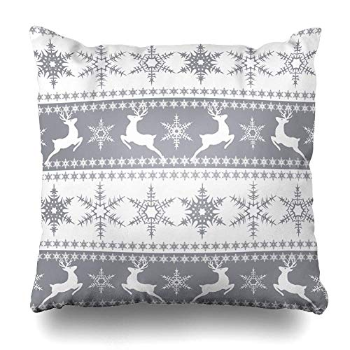 Throw Pillow Cover Square Stripe Christmas Grey White Pattern Reindeer Vintage Snowflakes Abstract Gray Branch Bright Design Zippered Cushion Pillow Case Home Decor Pillowcase 18x18 Inches