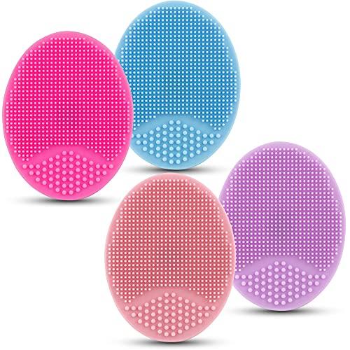 4pcs Silikon-manuelle Gesichtsreinigungsbürsten, Anti-Aging Porenreinigen Silikon Gesichtsbürste, Handmatten-Wäscher für empfindliche Haut Make-up-Werkzeug alle Hauttypen