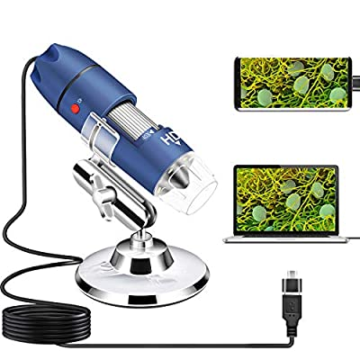 Cainda HD 2MP USB Microscope Camera for Android Windows 7 8 10 Linux Mac, 40X to 1000X Digital Microscope with Stand & Carrying Case, Portable Coin Microscope for Adults Kids Students