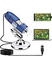 HD 2MP USB Microscoop Camera voor Android Windows 7 8 10 Linux Mac, Cainda 40X tot 1000X Digitale Microscoop met Stand & Draagtas, Draagbare Munt Microscoop voor Volwassenen Kinderen Studenten