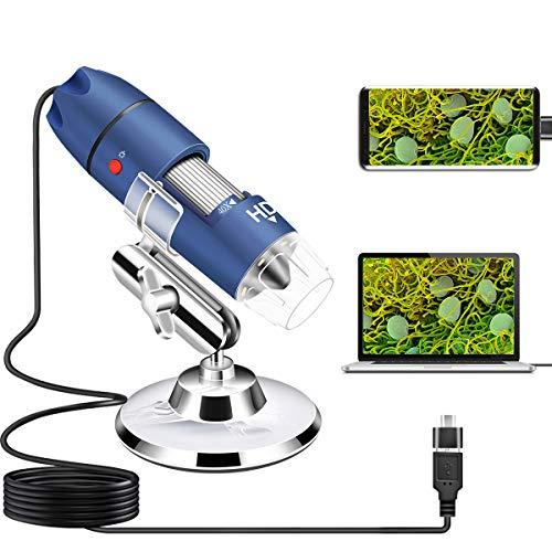 Cainda HD 2MP USB Microscopio fotocamera per Android Windows 7 8 10 Linux Mac, 40X a 1000X Microscopio digitale con supporto e custodia per il traspor