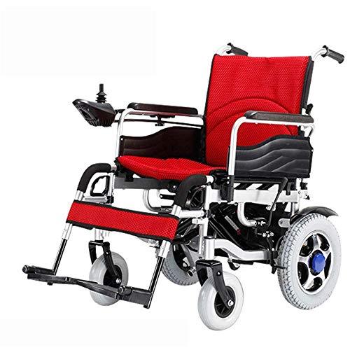 MMJC Silla de Ruedas eléctrica Ultraligera de Primera Calidad Plegable Plegable - Discapacitados Silla de Ruedas para Ancianos Reposapiés elevables para Mayor Comodidad