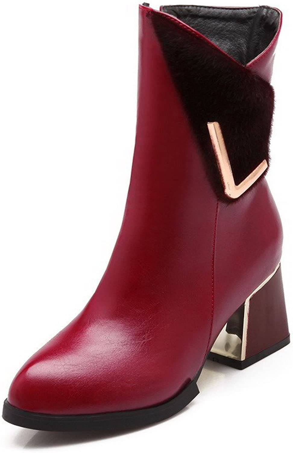 AllhqFashion Women's Blend Materials Pointed Closed Toe Kitten-Heels Solid Boots