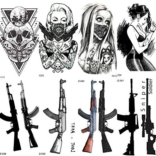 COKTAK 12 Fogli Mascherato Gangster Adulti Tatuaggi Temporanei Donna Uomo Sexy Body Art Arma Ragazze Braccio Adesivi Tatuaggio AK Pistola M416 AKM Fucile Cecchino Falso Morte Teschio Tattoos