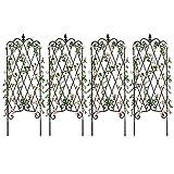 "Amagabeli Garden Trellis 60"" x 18"" Rustproof Iron Plant Trellis Vegetables Patio Black Metal Wire Lattices Grid Panels for Ivy Cucumbers 4 Pack"