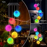 POWLIFE Wind Chime Outdoor Color-Changing Waterproof Mobile Romantic Led Solar Powered Crystal Ball Wind Chimes Lights for Home, Indoor, Yard, Patio, Night Garden, Party, Festival Decor