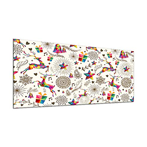 decorwelt | Ceranfeldabdeckung 90x52 cm 1 Teilig Weihnachten Bunt Herdabdeckplatten Spritzschutz Glas Deko Elektroherd Induktion Herdschutz Glasplatte Schneidebrett Sicherheitsglas